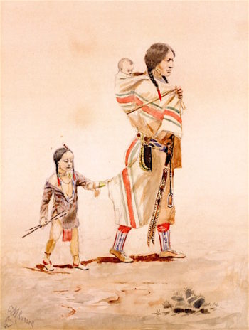 Indian Mother | Charles Marion Russell | oil painting