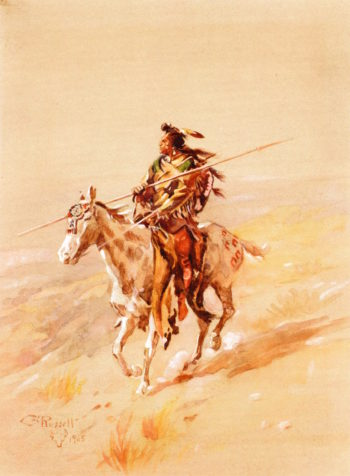A Crow Chief on Horseback | Charles Marion Russell | oil painting