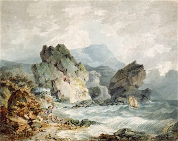 A Bay on a Rocky Coast with a Man Running | Joseph Mallord William Turner | oil painting