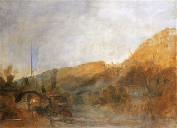Barge on the Thames near Cliveden towards Sunset | Joseph Mallord William Turner | oil painting