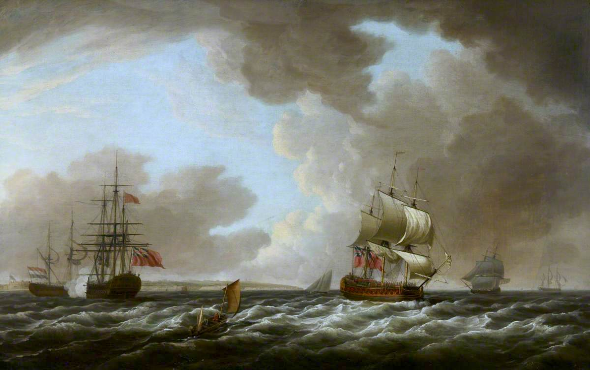 A Dutch Ship Saluting an English Flagship | Dominic Serres | oil painting