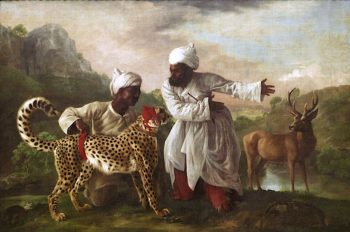 Portrait of a Hunting Tiger -  Cheetah with Two Indian Attendants and a Stag | George Stubbs | oil painting