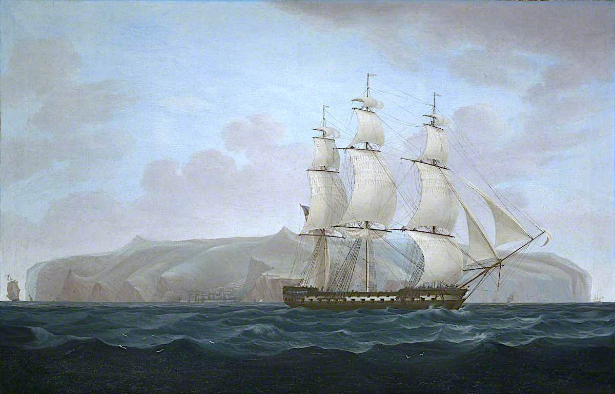 A Royal Navy Two - Decker off St Helena | William John Huggins | oil painting