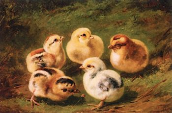 Baby Chicks | Arthur Fitzwilliam Tait | oil painting