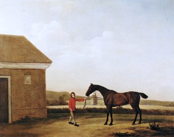 Hyaena at Newmarket with one of Jenison Shaftos Stable - Lads   George Stubbs   oil painting