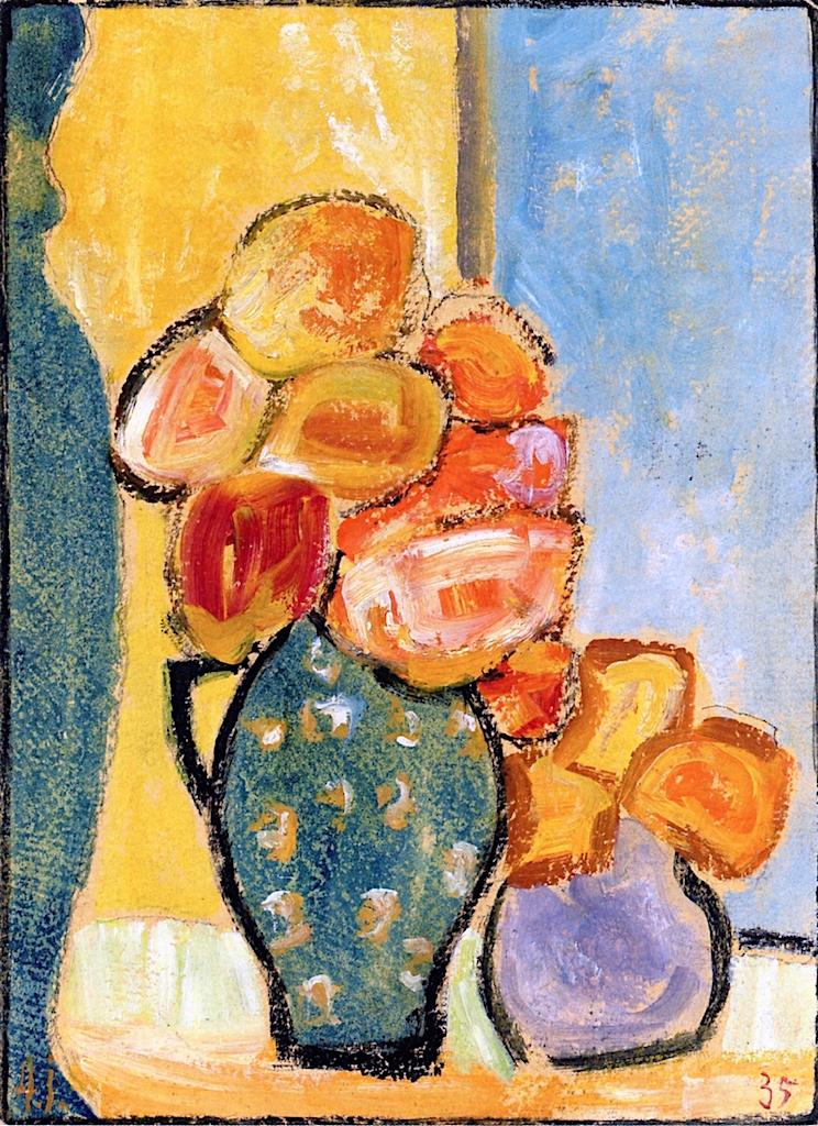 Still Life With Three Flower Vases Painting Alexei Von Jawlensky