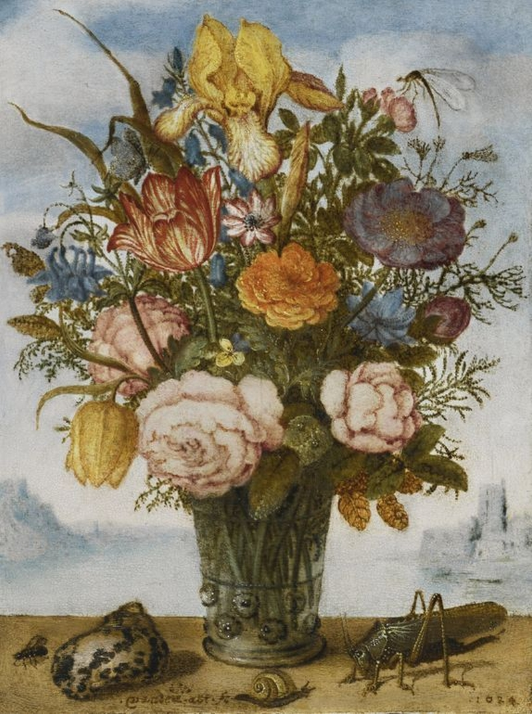 Flower Bouquet on a Ledge Painting | Balthasar van der Ast Oil Paintings