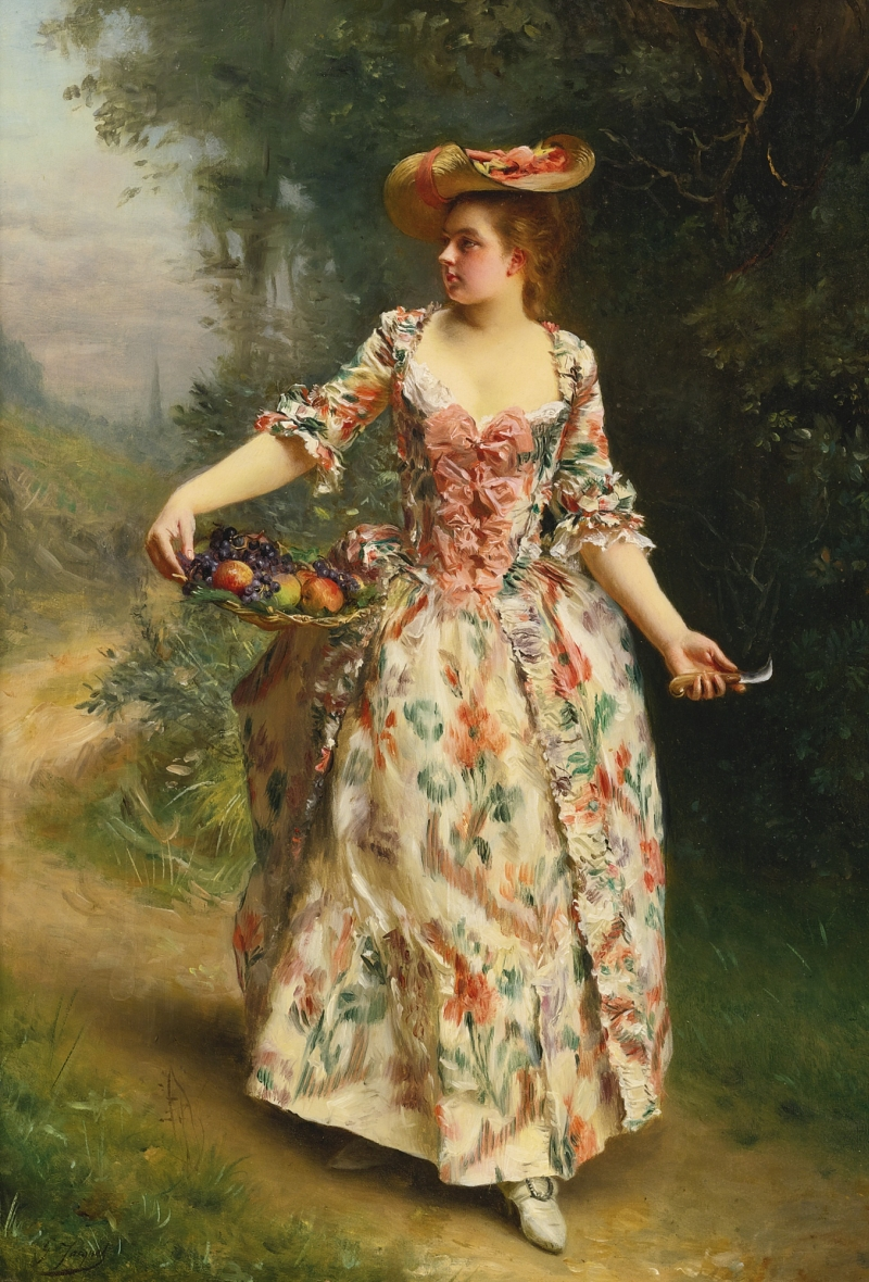 A Walk in the Park Painting | Gustave Jean Jacquet Oil Paintings