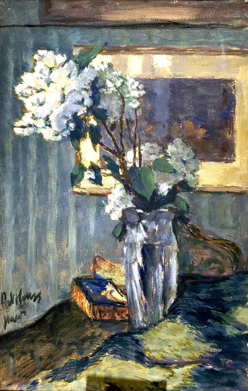 White Flowers In A Glass Vase Painting Pyotr Nilus Oil Paintings