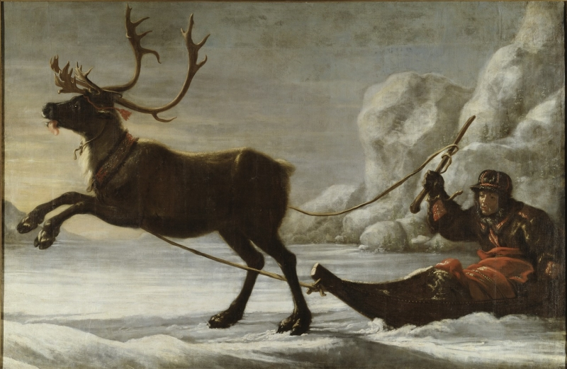 abraham renstirna dressed as a lapp and his reindeer painting