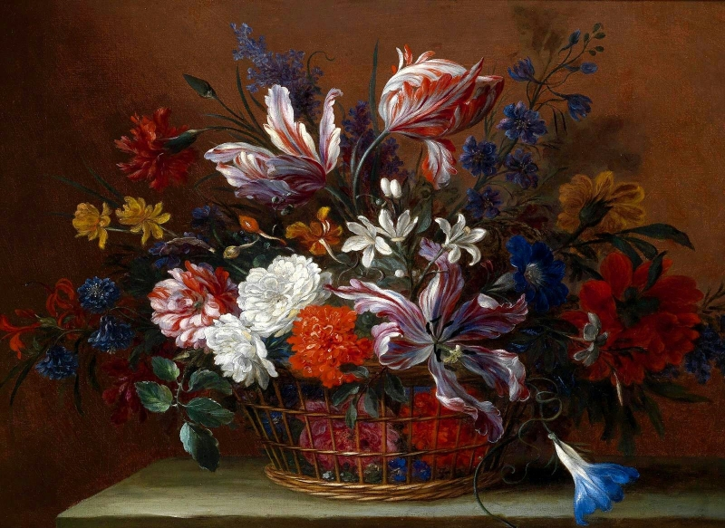still life with a basket of flowers painting jean baptiste