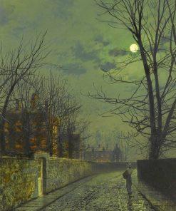 A moonlit street after rain | John Atkinson Grimshaw | Oil Painting