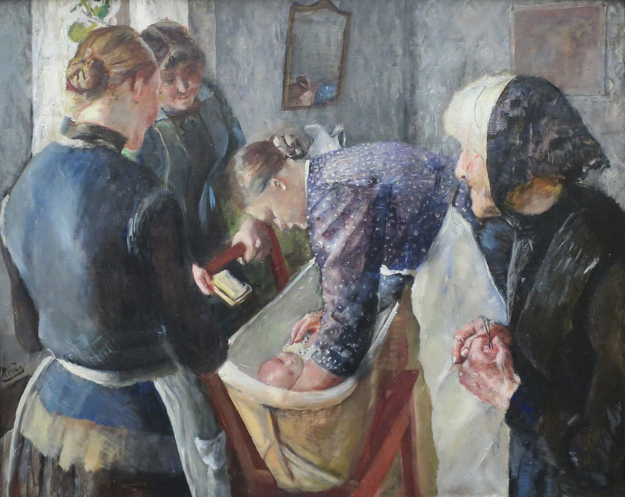 In the Bathtub Painting | Christian Krohg Oil Paintings