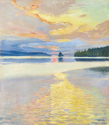 Sunset over lake Ruovesi | Akseli Gallen-Kallela | Oil Painting
