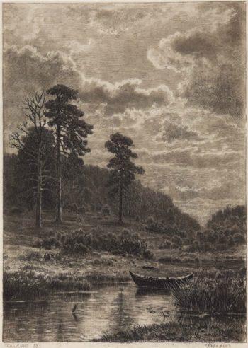 River Bank   Ivan Ivanovich Shishkin   Oil Painting