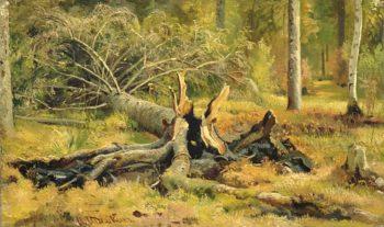 A Fallen Tree   Ivan Ivanovich Shishkin   Oil Painting