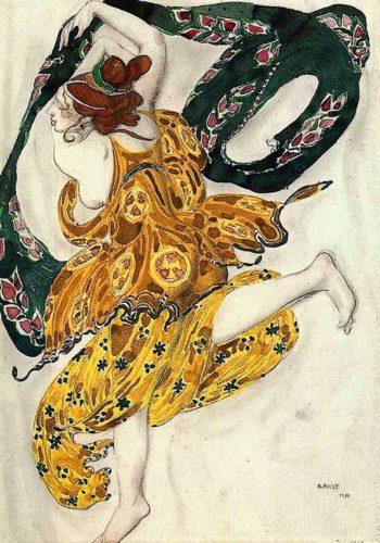 Costume design for Alexander Tcherepnins Narcisse   Leon Bakst   Oil Painting