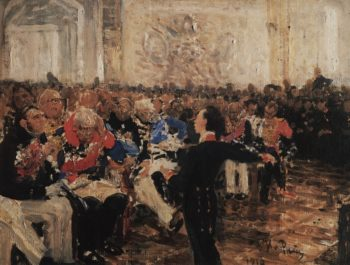 Alexander Pushkin at the Lyceum (study)   Ilia Efimovich Repin   Oil Painting