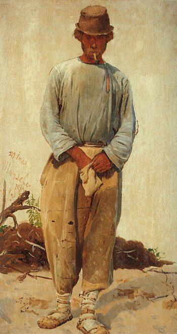 A Barge Hauler (study)   Ilia Efimovich Repin   Oil Painting