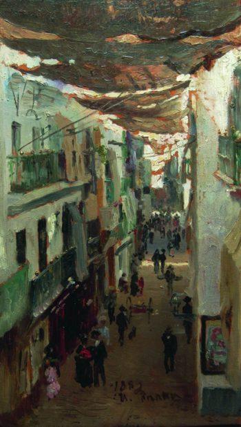 A Street in Seville   Ilia Efimovich Repin   Oil Painting