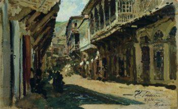 A Street in Tiflis   Ilia Efimovich Repin   Oil Painting