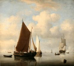 A Calm Sea with two Fishing Boats and a Man-of-War Firing a Salute Beyond | Willem van de Velde the Younger | Oil Painting