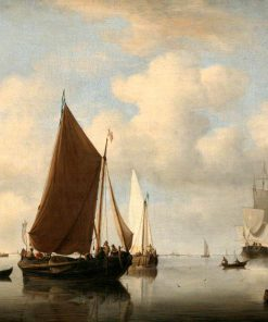 A Calm Sea with two Fishing Boats and a Man-of-War Firing a Salute Beyond   Willem van de Velde the Younger   Oil Painting