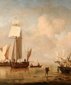 A Calm Sea with Two Fishing Boats and a Third Beached   Willem van de Velde the Younger   Oil Painting