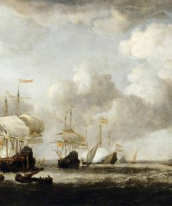 A Dutch Fleet Coming to Anchor in a Breeze   Willem van de Velde the Younger   Oil Painting