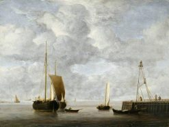 A Dutch Hoeker at Anchor near a Pier | Willem van de Velde the Younger | Oil Painting