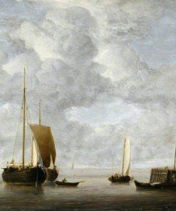 A Dutch Hoeker at Anchor near a Pier   Willem van de Velde the Younger   Oil Painting