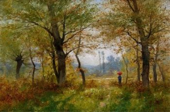Dam mit rotem Schirm im sonnigen Wald(also known as Woman with Red Umbrella in a Sunny Forest) | Gustave Castan | Oil Painting