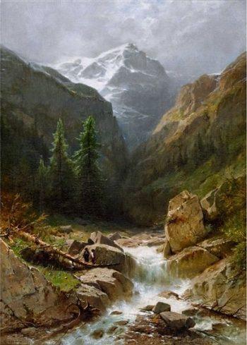 Wilder Gebirgsbach bei Rosenlaui mit dem Wellhorn | Gustave Castan | Oil Painting
