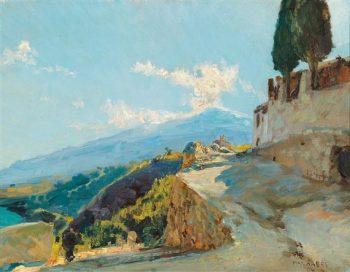 Mt. Etna   Max Friedrich Ferdinand Rabes   Oil Painting