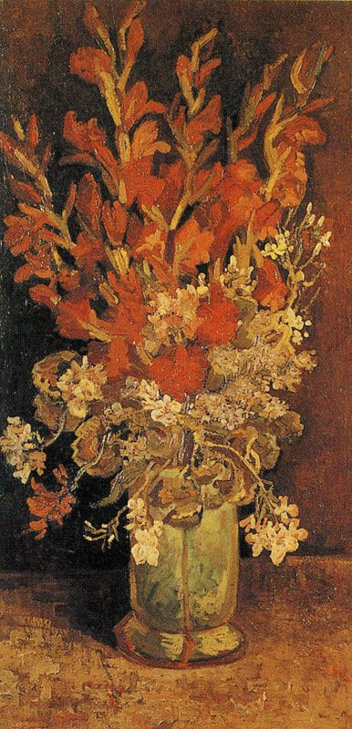 Vase With Gladioli And Other Flowers Painting Vincent Van Gogh Oil