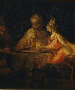 Ahasuerus and Haman at the Feast of Esther | Rembrandt van Rijn | Oil Painting