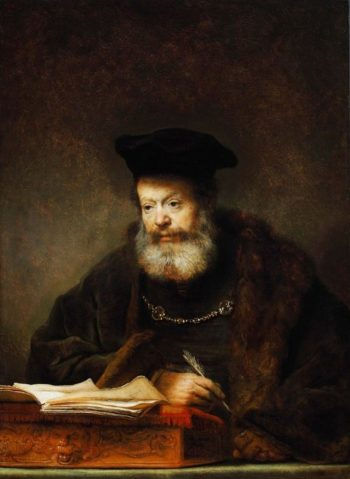 Scholar at his Writing Table | Rembrandt van Rijn | Oil Painting