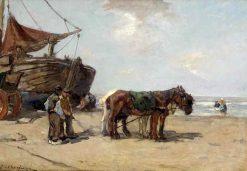 Horses on the Beach | Johannes Evert Hendrik Akkeringa | Oil Painting