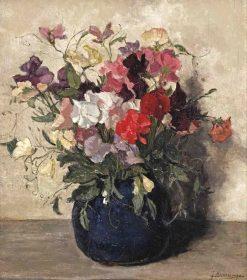 Lathyrus in a Blue Vase | Johannes Evert Hendrik Akkeringa | Oil Painting