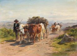 Carts with Cows and Cowherd in the Augergne   Rosa Bonheur   Oil Painting